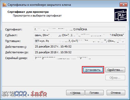 Данные сертификата